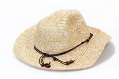 yellow cream wickerwork cowboy lady hat isolated Stock Photos