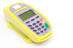Yellow Credit Card Terminal Stock Photography