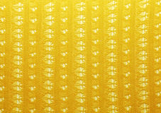 Yellow crochet fabric for background Stock Photo