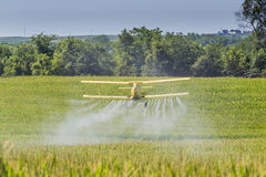 Yellow Crop Duster. A crop duster applies chemicals to a field of vegetation Stock Photo