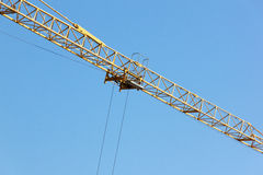 Yellow Cross Arm Structure of High Rise Crane Stock Images