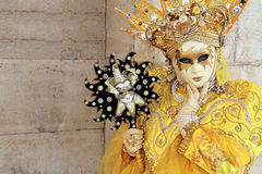 A yellow crowned mask Stock Photos