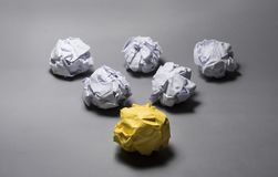 Yellow crumpled paper ball.Business creativity,leadership concept royalty free stock photos