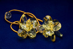 Yellow Crystal. Yellow Flower Shaped Crystal Hair Accessory Stock Photography
