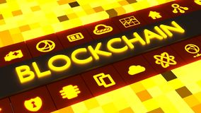 Yellow cube grid with the glowing word blockchain in the middle Stock Image
