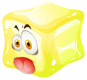 Yellow cube with silly face Stock Images
