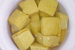 Yellow cube tofu Royalty Free Stock Image