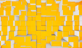 Yellow cubes. An abstract background illustration with cubes and cuboids with yellow faces and white sides Stock Photos