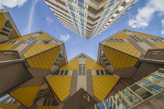 Yellow cubic houses in Rotterdam. Innovative yellow cubic houses built in Rotterdam Royalty Free Stock Images