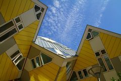 Yellow Cubic Houses - Rotterdam - Netherlands. Photo showing some famous cubic houses in Rotterdam - Netherlands Royalty Free Stock Photography