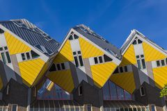 Yellow cubic houses - Rotterdam Netherlands. Yellow cubic houses in Rotterdam Netherlands - architecture background Royalty Free Stock Photos
