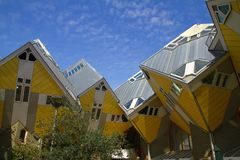 Yellow Cubic Houses - Rotterdam - Netherlands. Photo showing the yellow cubic houses in Rotterdam - Netherlands Royalty Free Stock Image