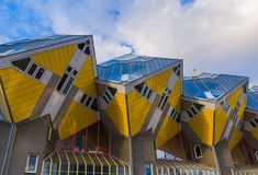 Yellow cubic houses - Rotterdam Netherlands. Yellow cubic houses in Rotterdam Netherlands - architecture background Stock Photos