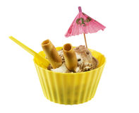 Yellow cup with chocolate ice cream Stock Images