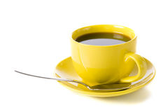 Yellow Cup of Coffee Stock Photography