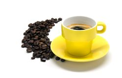 Yellow cup of coffee Stock Images