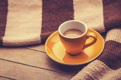 Yellow cup of the coffee Stock Images