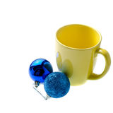 Yellow Cup With Christmas Decoration. Stock Photo