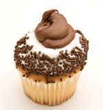 Yellow Cupcake with Chocolate and White Icing Royalty Free Stock Photos