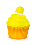 Yellow cupcake with macaroon Stock Images