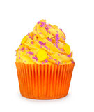 Yellow cupcake with violet powder Stock Photo