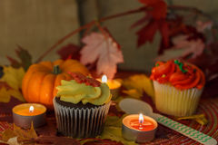 Yellow cupcakes with pumpkin and candles. Cupcakes with pumpkin, maple leaves, and candles decorations Royalty Free Stock Photography