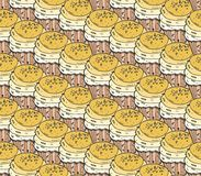 Yellow cupcakes sweets seamless doodle vector pattern hand drawn.Vintage bakery  background. Stock Photo