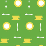 Yellow cups and tea spoons Stock Images