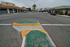 A colorful median strip in the center of a roadway in Old Torrance California. royalty free stock images