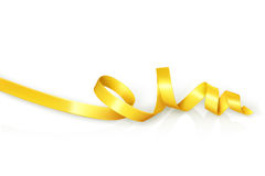 Yellow curled ribbon for party Stock Photos