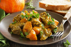 Yellow curry with pumpkin Stock Image