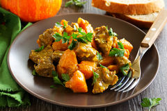 Yellow curry with pumpkin Royalty Free Stock Photos