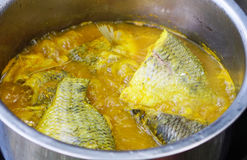 Yellow curry. With tilapia and Bamboo shoots Royalty Free Stock Image