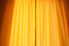 Yellow curtain as background. And texture Stock Photos