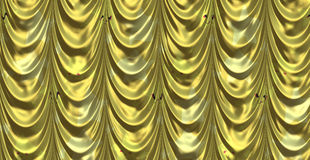 Yellow curtain with cartoon stars Stock Image