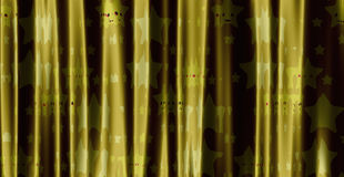 Yellow curtain with cartoon stars Stock Photography