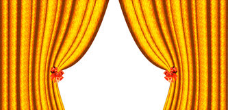 Yellow curtain with two bows Royalty Free Stock Photos