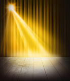 Yellow Curtains And Wooden Stage Floor. Stock Image