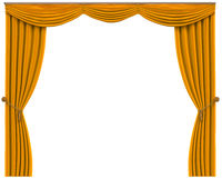 Yellow Curtains Isolated on White Background Royalty Free Stock Photos