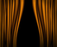 Yellow curtains on stage. Royalty Free Stock Photos