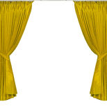 Yellow curtains on white background Stock Image