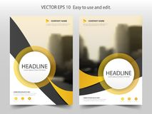 Yellow curve circle Brochure flyer annual report design template. Vector. Business Flyers infographic magazine poster.Abstract layout template ,Book Cover Stock Photo