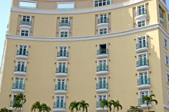 Yellow Curved Hotel Stock Photo
