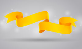 Yellow curved ribbon or banner Royalty Free Stock Image