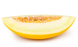 Yellow cut melon isolated on white background Stock Image