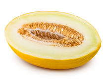 Yellow cut melon isolated on white background Stock Photos