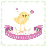 Yellow cute baby chicken Happy Birthday vector background and card with ribbon. Royalty Free Stock Images