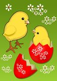 Yellow cute chicks with decorated eggshell on green meadow with white spring flowers, beautiful funny easter theme Stock Images
