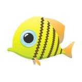 Yellow cute fish cartoon icon. On a white Stock Photo