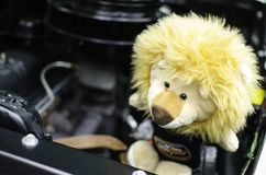 Yellow cute lion doll on the car engine. A Yellow cute lion doll on the car engine royalty free stock photo